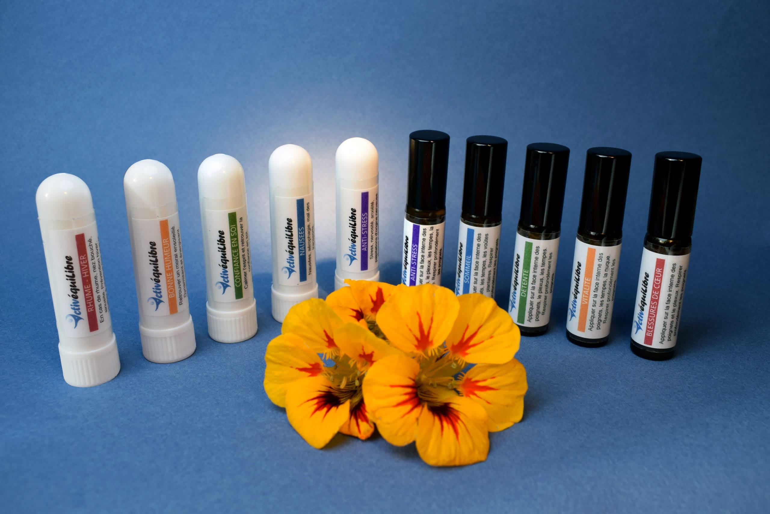 Aromasticks et Rolls-on Activéquilibre, aux huiles essentielles bio de grande qualité, pour prolonger l'effet des massages