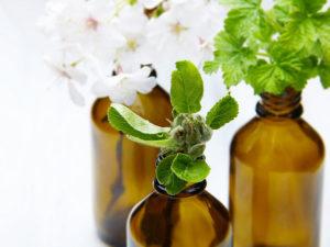 Fioles d'huiles essentielles avec plantes