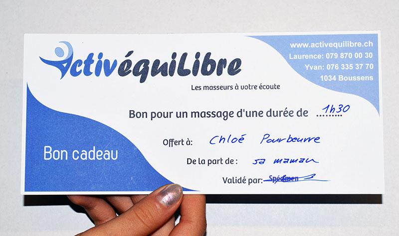 Bon cadeau pour massage ou thérapie