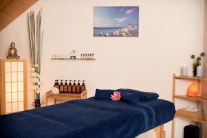 Table prête pour massage thérapeutique